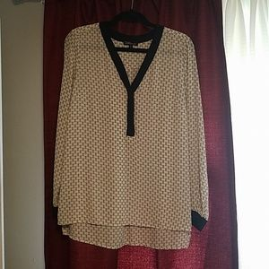 Cream and Black Long Sleeve Blouse